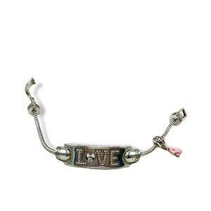 Brighton Power of Pink bracelet: LOVE, pink ribbon & add a charm   2010 Retired